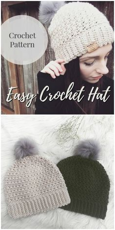 Love this sweet easy crochet hat pattern for a new crocheter! I love beginner patterns! A couple hours and you have a handmade gift or a new accessory! Hats for beginners Beginner Crochet Hat Patterns Crochet Hat For Beginners, Crochet Hat For Women, Crochet Kids Hats, Knitted Hats, Crochet Gift Ideas For Women, Diy Crochet Hat, Easy Crochet Headbands, Crochet Hat Tutorial, Crochet Winter Hats
