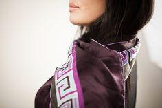 Long Silk Scarf in Black and Purple  Neck Scarf by BorneoBatikraft, hand painted silk scarf, batik, muffler, silk scarf, purple silk scarf, painted silk scarf