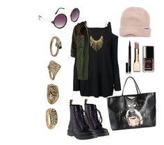 """""""Come as you are."""" by ballrooms-of-mars ❤ liked on Polyvore featuring Neff, Paule Ka, BB Dakota, Givenchy, Dr. Martens, Full Tilt, Chanel, Clarins, Made and Kevyn Aucoin"""