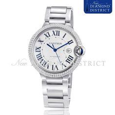 2.50ct Total Diamond Large Cartier Ballon Bleu Automatic Steel W69012Z4 Watch #Cartier