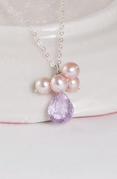 Pink Martini – Pink Amethyst and Pearls Cluster Necklace
