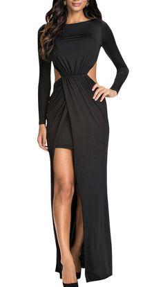 Women's Slim Fit Round Neck Open Back Long Sleeve Ruched Maxi Dress | Fecbek.com