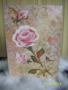 Hand painted rose card