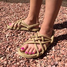 This Original Style is the classic design of a modern rope sandal, with a natural look. We currently carry US Women's sizes in the featured BEIGE or in a BROWN & BEIGE color. Rope Sandals, Sport Sandals, Strappy Sandals, Summer Sandals, Walking Barefoot, Thing 1, Sandals Outfit, Brown Beige, Ladies Dress Design