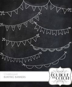 Chalkboard Bunting Banners doodle cliparts Digital Clip Art. Party Clipart…