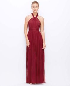 halter bridesmaid dress in marsala
