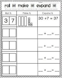 Preview for first grade~ place value practice for deeper understanding of  2 digit addition ~ roll it ~ write it ~ build it ~ draw it ~ write it in expanded notation ~ first grade math ~ common core ~