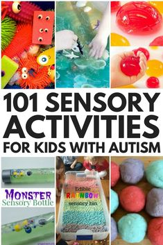 Whether you're looking for sensory play activities for babies, toddlers, preschoolers, kindergarteners, or school-aged kids, we've got you covered. Perfect for at home or in the classroom, we've collected 101 sensory activities for kids with autism and special needs to help them calm down, stimulate their senses, develop their social skills, language skills, fine motor skills, gross motor skills, and self-control skills, as well as increase their attention span and help them learn! Sensory Bins, Sensory Activities, Infant Activities, Sensory Play, Autism Activities, Autism Sensory, Fine Motor Activities For Kids, Social Skills Activities, Classroom Images