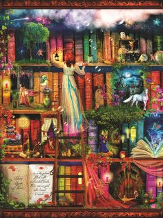 Treasure Hunt Bookshelf 1000 piece Jigsaw Puzzle SunsOut Made USA Aimee Stewart #SunsOut #Puzzle