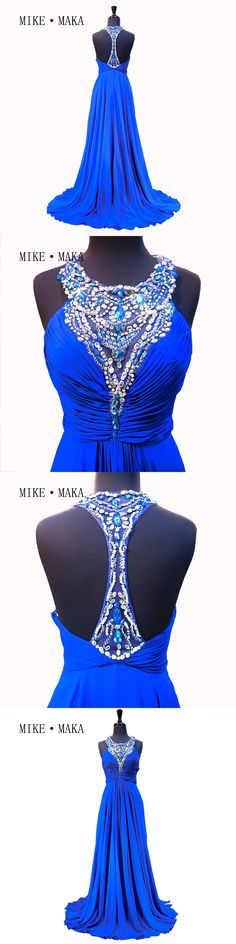 Amazing Sexy Dress To Party Elegant O-Neck Custom Made Blue Prom Dresses 2017 Long Beaded Backless Prom Pageant Gown
