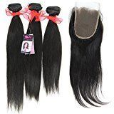 "Eayon Hair® Top Quality 100% Row Virgin Peruvian Human Hair Straight Hair 3pcs 10""-30""+ 1 Pcs Lace Closure (4*4) Natural Color (22""/24""/26""+16""lace Closure)"