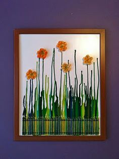 Cool crayon art! Hoyt glue crayons and then let dry. After it dries, blow dry art in the direction you want the melted crayons to go.