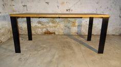 Designový jídelní stůl - masivní dub a ocel - 1