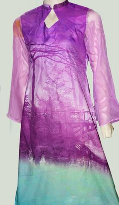 Buy Lilac/Sea Green Digital Printed Grip Silk Kurti by Needle & Ink Collection