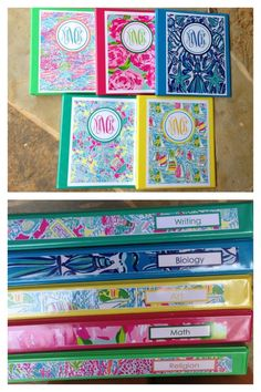 Monogrammed Lilly binders- with front view and side view. DIY
