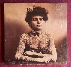 Vintage Tattooed Lady Portrait - Photo Transfer wall art
