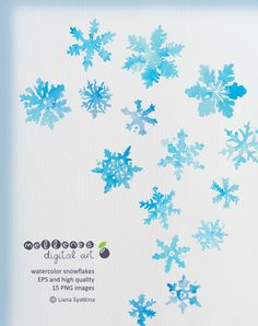 Watercolor snowflakes. Clip art / clipart scrapbook vector EPS and high quality PNG images for commercial and personal use by mellenes on Etsy https://www.etsy.com/listing/166819342/watercolor-snowflakes-clip-art-clipart
