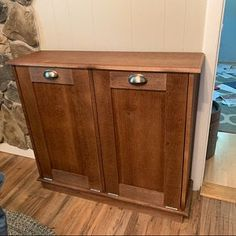 Wood Trash Can Stained, Recycling Bin, Storage Tilt Out Organizer, Solid Pine Garbage Can Laundry Hamper, Storage, Storage Bins, Trash Barrel, Solid Pine, Custom Kitchen Island, Recycling, Wood Trash Can, Wooden Bins