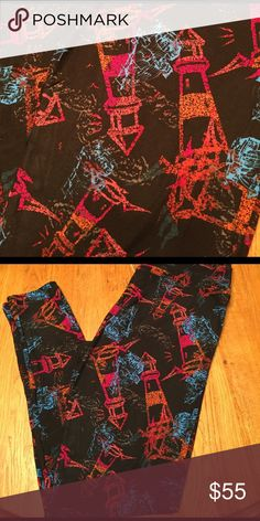 LuLaRoe TC LIGHTHOUSE / SHIP leggings Brand new with or without tag. TC tall and curvy (fits most 12-22) lighthouse with ship leggings.  Black background.  Pink and orange lighthouses with blue ship. New, popular, hard to find print! *I am NOT a LuLaRoe consultant. Just an addict who loves to hunt for great prints.* LuLaRoe Pants Leggings