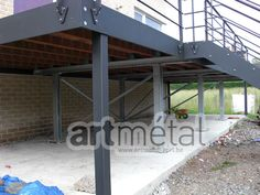Art-Métal - Structures et terrasses Terrasse Design, Balcony Railing Design, Steel Deck, Backyard, Patio, Steel Buildings, Building A Deck, Dream House Plans, Steel Structure