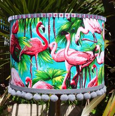 Turquoise Flamingo Lamp or Ceiling Shade with Gem by lovekittypink
