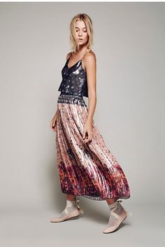 Anna Sui x Free People Womens LAME PLEAT SKIRT SET - Bohemian Summer Fashion Trend 2017
