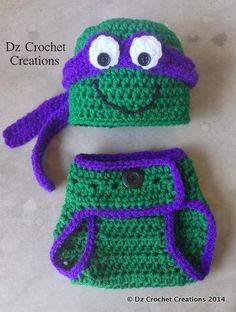 Crochet Ninja Turtle Outfit Photo Prop Set Hat by HandMadeByDz Crochet Cross, Crochet Mandala, Knit Crochet, Crochet For Boys, Crochet Baby Hats, Ninja Turtle Outfit, Crochet Ninja Turtle, Crochet Stitches, Crochet Patterns