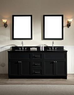 Give your bathroom decor a makeover with a modern bathroom vanity from Ariel Bath. The Hamlet series offers granite or quartz countertops mounted above solid wood cabinets. With satin nickel finish hardware on the drawers and cabinet doors. these van. Black Vanity Bathroom, Double Sink Bathroom, Double Sink Vanity, Vanity Set With Mirror, Vanity Sink, Bathroom Vanities, Bathroom Ideas, Master Bathroom, Bathroom Cabinets
