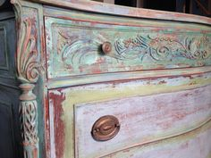 Blending paints to this heavily carved dresser - milk paint - chalk paint - Annie Sloan - shabby chic - bohemian - French country - antique dresser - Hand painted Dare To Be Vintage.