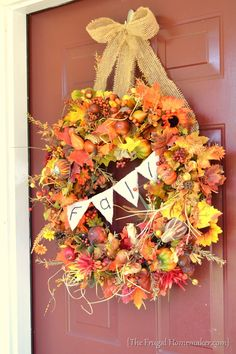 Check out this beautiful Fall wreath from my friend Christina at www.TheFrugalHomemaker.com.  She has fabulous decorating ideas!  I love this wreath!