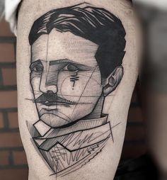 Nikola Tesla portrait tattoo. Very into the style...and Tesla. Total mancrush.