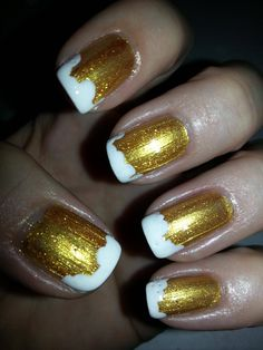 Brewery nails: Kleancolor Metallic Yellow, white