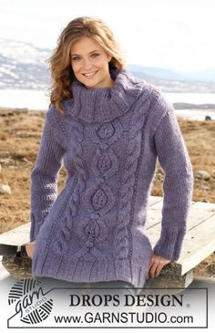 Alaska Cables pattern by DROPS design Roll Neck Sweater, Cable Knit Sweaters, Long Sweaters, Sweaters For Women, Knit Cowl, Drops Design, Hand Knitted Sweaters, Sweater Knitting Patterns, Hand Knitting