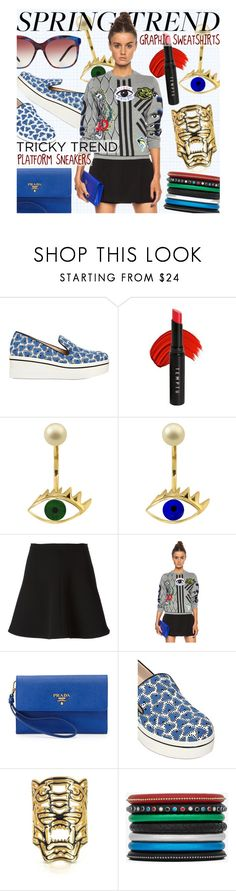 """#SpringTrends: #GraphicSweatshirts & #PlatformSneakers"" by rvgems ❤ liked on Polyvore featuring STELLA McCARTNEY, Temptu, Delfina Delettrez, RED Valentino, Kenzo, Prada, Yves Saint Laurent and Bulgari"