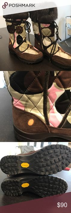 """Coach Fur Women's Boots Coach Faux Fur Women's Boots waterproof 💦. Has Vibram soles technology specifically engineered and designed to preform on wet ice. Overall height is 13"""" from top to bottom of boot with Coach logo in pink, brown, and tan colors. In excellent condition worn maybe twice realized these were not my style. Coach Shoes Winter & Rain Boots"""
