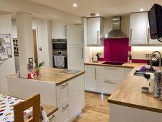 New kitchen ikea savedal Ideas # ideas # savedal # ideasideas . Backsplash For White Cabinets, Ikea Kitchen Cabinets, Kitchen Wall Tiles, Kitchen Shelves, Diy Kitchen Decor, Rustic Kitchen, Kitchen Interior, Kitchen Design, Kitchen Shop