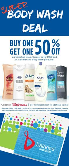 Which brand is your favorite: Caress®, Suave, AXE, St. Ives®, Dove or Lever 2000®? Visit Walgreens for Buy 1, Get 1 50% off Body Wash & Bars thru Saturday http://freebies4mom.com/saveatwags Enjoy your BodyWashSavings!!! sponsored