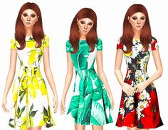Print dresses at Leeloo via Sims 4 Updates Sims 4 Dresses, Sims 4 Game, Sims 4 Clothing, Sims 4 Update, Must Haves, Swatch, Geek Stuff, Short Sleeve Dresses, Summer Dresses