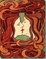 Peter Behrens, The Kiss, 1898.  German Jugendstil. This six-color woodcut, controversial for its androgynous imagery,  was first reproduced in Pan magazine.