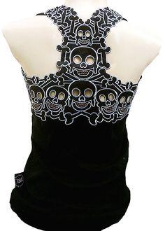 Rockabilly Punk Rock Baby Woman Black Tank Top Shirt Tiki Cannibal Skull S