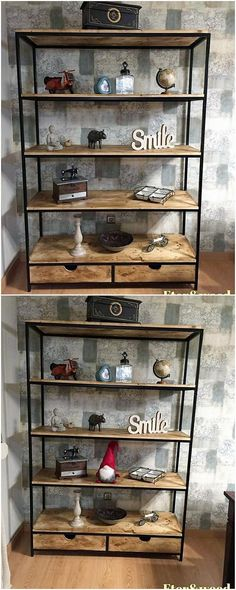 Having some extra wood pallet planks in your house can be dramatically be utilized at the best in this magnificent creation. You just need to arrange the planks in flawless shaped shelving cabinet that is so dramatic designed out. You can make the whole creation looks awesome with the adjustment of decoration pieces over it.
