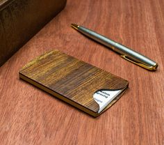 Handmade Wooden Business Card Holder Devilwood Executive Gift