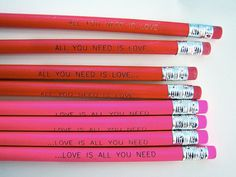 love is all you need pencils | earmark via Etsy