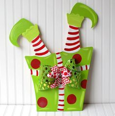Elf Door Hanger, Christmas Decor, Christmas Wreath, Holiday Wreath Elf Legs…