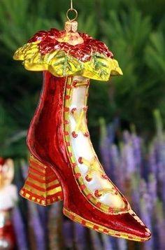 Patience Brewster High Heel Shoe Glass Ornament