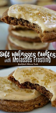 Soft Molasses Cookies with Molasses Frosting are a super soft and chewy molasses cookie then frosted with a delicious molasses frosting. - Chewy Candy - Ideas of Chewy Candy Tolle Desserts, Köstliche Desserts, Delicious Desserts, Dessert Recipes, Plated Desserts, Dessert Party, Oreo Dessert, Homemade Cookies, Yummy Cookies