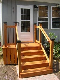 like it very small porch then simple wood stairs i wonder if we