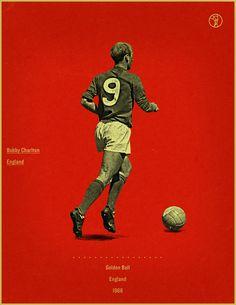 Bobby Charlton England 1966 world cup fifa golden ball winner poster illustration.