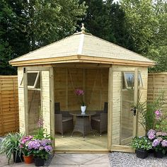 The Malvern Martley summer house is available from GBC Group in a choice of timber finishes and four sizes. Small Summer House, Corner Summer House, Summer House Garden, Winter Garden, Home And Garden, Cabana, Circular Garden Design, Corner Sheds, Building A Garage