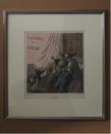 "19e eeuw gesigneerde Lithografie ""Theatre de la Guerre"" Honoré Daumier 1808-1879"